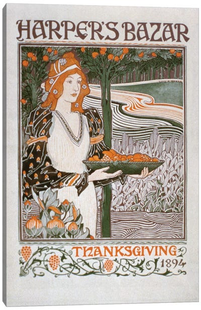 Advertisement for the Thanksgiving edition of 'Harper's Bazar', 1894  Canvas Art Print
