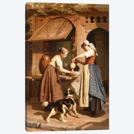 At the Dairy, 1866  Canvas Print #BMN1742} by Theodore Gerard Canvas Art Print