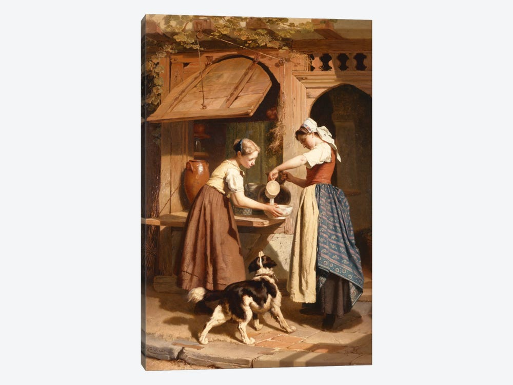 At the Dairy, 1866  by Theodore Gerard 1-piece Canvas Wall Art