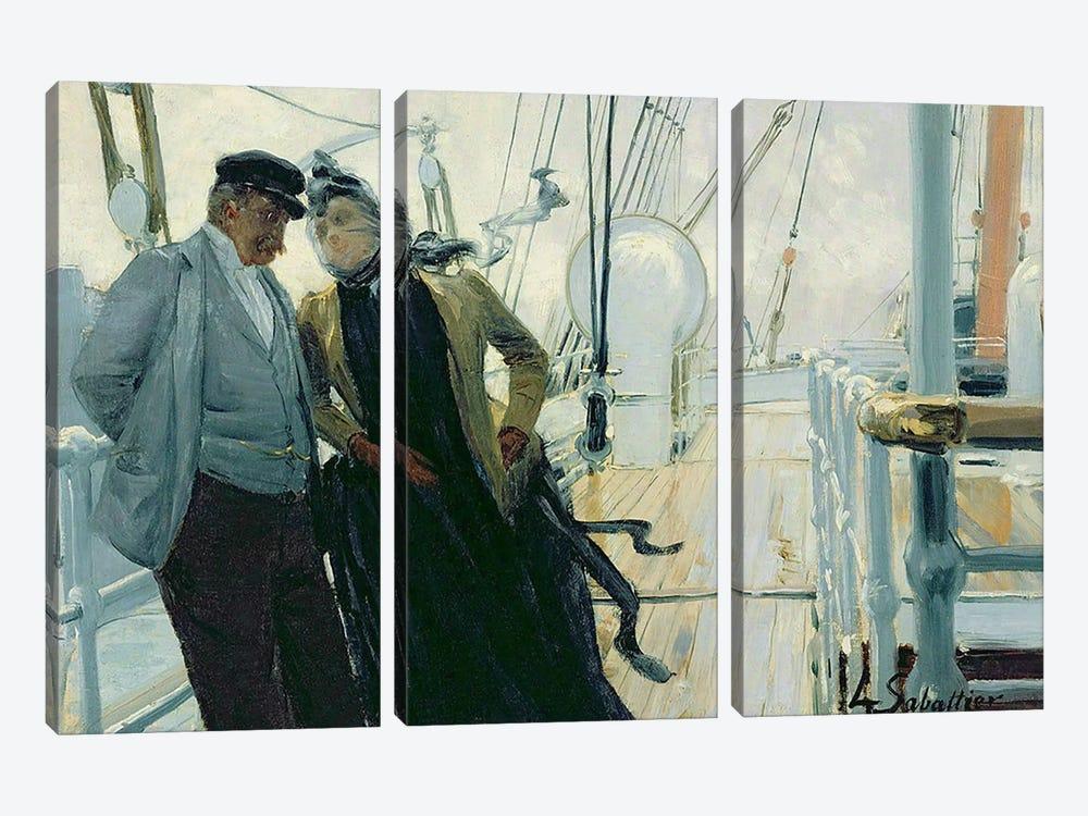 On Deck  by Louis Anet Sabatier 3-piece Canvas Print