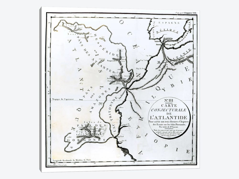 No. III Conjectural Map of the Island of Atlantis, drawn by Bory of St-Vincent and engraved by E. Collin  by French School 1-piece Canvas Art