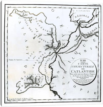 No. III Conjectural Map of the Island of Atlantis, drawn by Bory of St-Vincent and engraved by E. Collin  Canvas Art Print