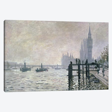 The Thames below Westminster, 1871  Canvas Print #BMN175} by Claude Monet Art Print