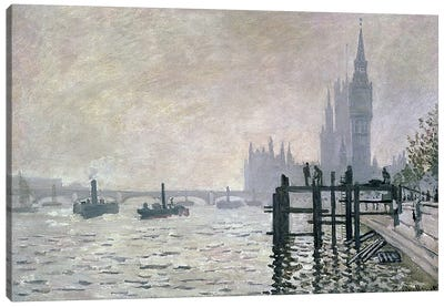 The Thames below Westminster, 1871 Canvas Art Print