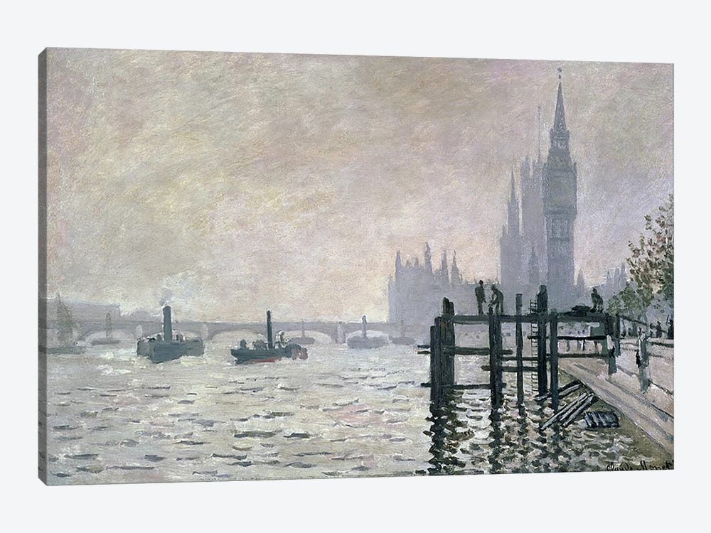 The Thames below Westminster, 1871 by Claude Monet 1-piece Canvas Wall Art