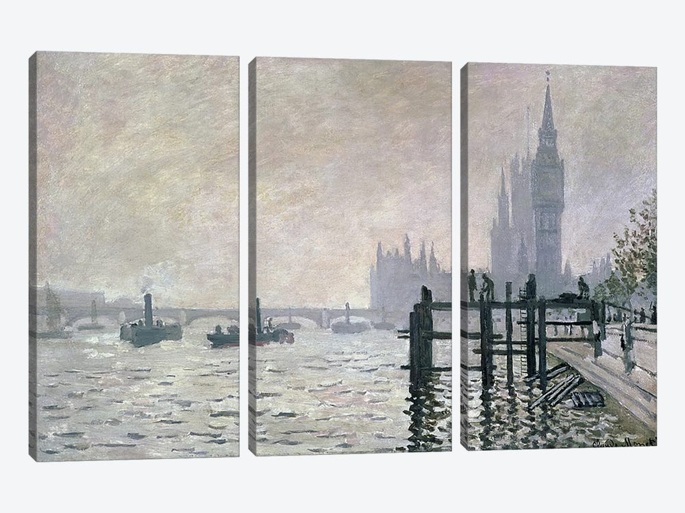 The Thames below Westminster, 1871  by Claude Monet 3-piece Canvas Wall Art