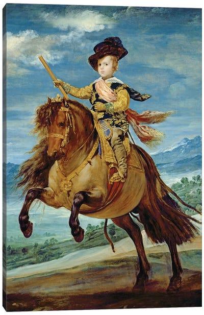 Prince Balthasar Carlos on horseback, c.1635-36  Canvas Art Print