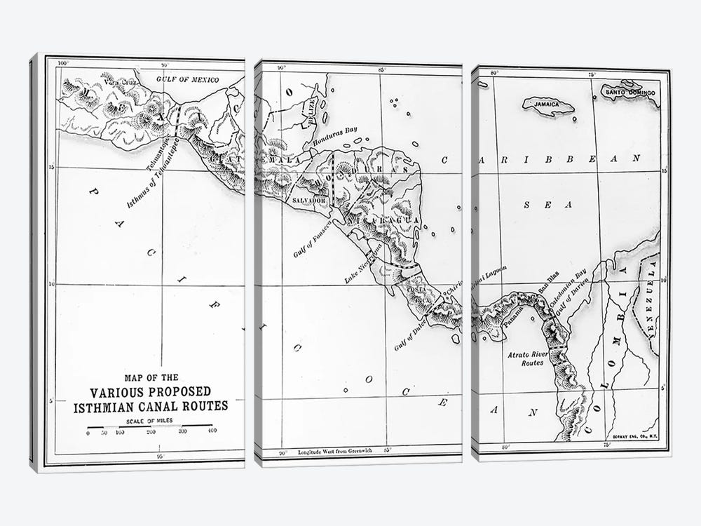 Map of the Various Proposed Isthmian Canal Routes  by English School 3-piece Art Print