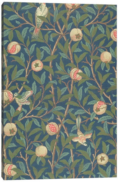 'Bird and Pomegranate' Wallpaper Design, printed by John Henry Dearle  Canvas Art Print