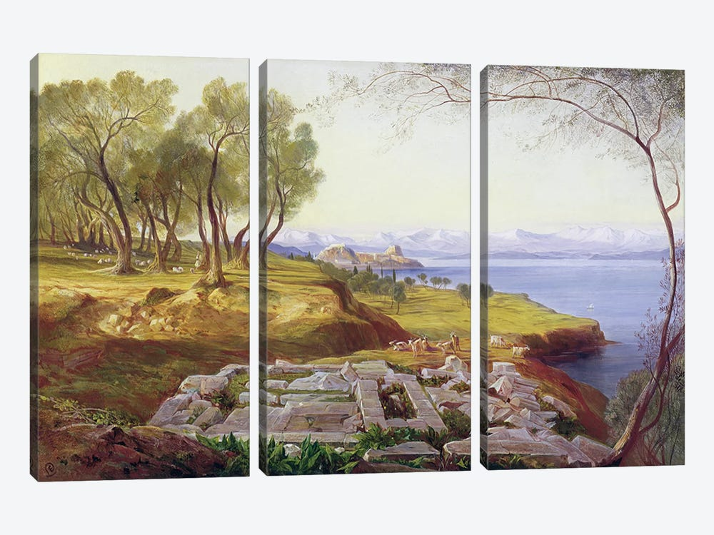 Corfu from Ascension, c.1856-64  by Edward Lear 3-piece Canvas Print