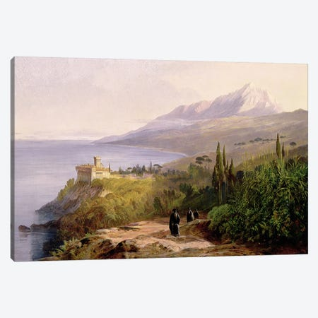 Mount Athos and the Monastery of Stavroniketes, 1857  Canvas Print #BMN1775} by Edward Lear Canvas Print
