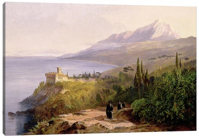 Mount Athos and the Monastery of Stavroniketes, 1857  Canvas Art Print