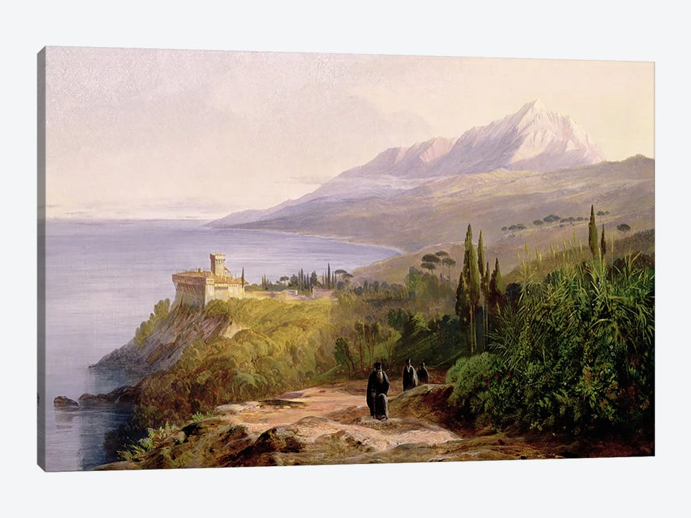 Mount Athos and the Monastery of Stavroniketes, 1857  by Edward Lear 1-piece Canvas Wall Art