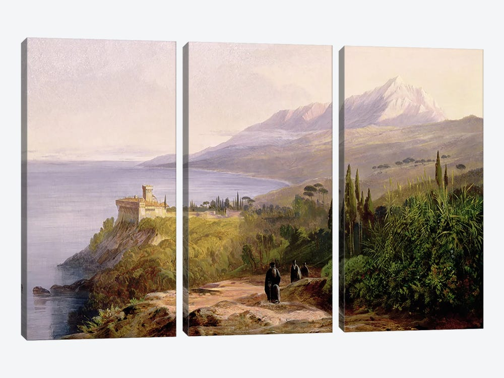 Mount Athos and the Monastery of Stavroniketes, 1857  by Edward Lear 3-piece Canvas Wall Art