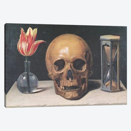 Vanitas Still Life with a Tulip, Skull and Hour-Glass  Canvas Print #BMN1776} by Philippe de Champaigne Canvas Print