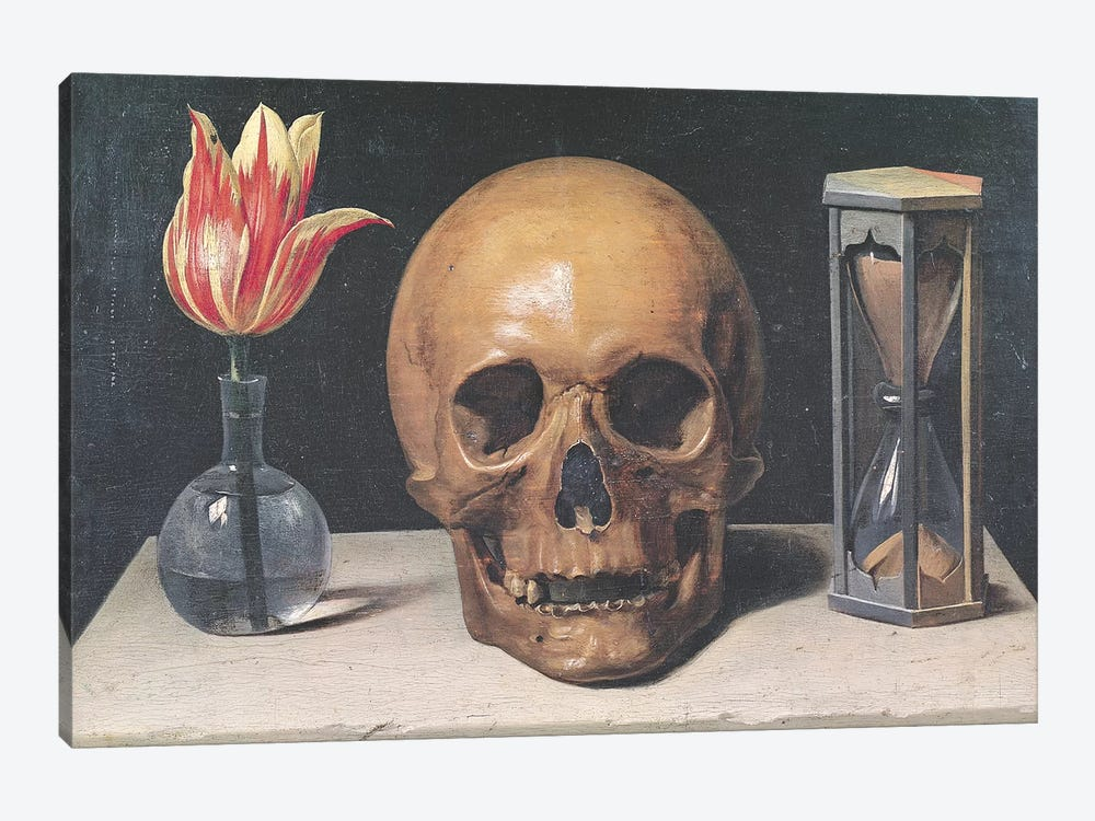 Vanitas Still Life with a Tulip, Skull and Hour-Glass  by Philippe de Champaigne 1-piece Canvas Art Print