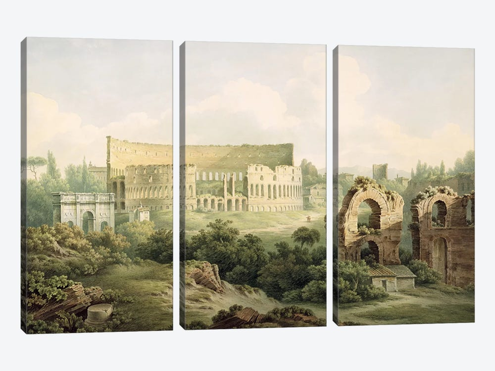 The Colosseum, Rome, 1802 by John Warwick Smith 3-piece Canvas Wall Art