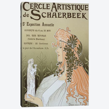 Reproduction of a poster advertising 'Schaerbeek's Artistic Circle, the Fifth Annual Exhibition', Galerie Manteau, 1897  Canvas Print #BMN1781} by Henri Privat-Livemont Canvas Art Print