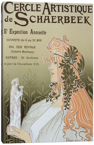 Reproduction of a poster advertising 'Schaerbeek's Artistic Circle, the Fifth Annual Exhibition', Galerie Manteau, 1897  Canvas Art Print