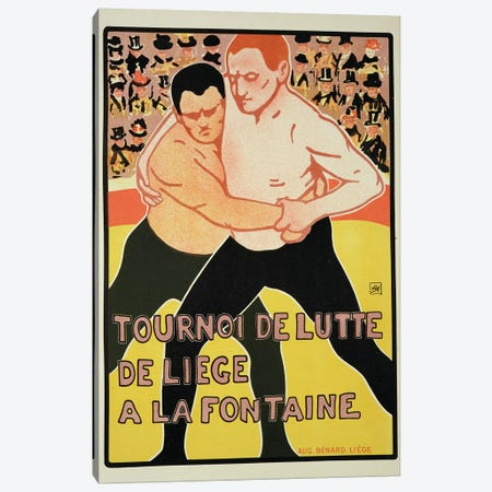 Reproduction of a poster advertising a wrestling tournament, at The Fountain, Liege, Belgium, 1899  Canvas Print #BMN1783} by Armand Rossenfosse Art Print
