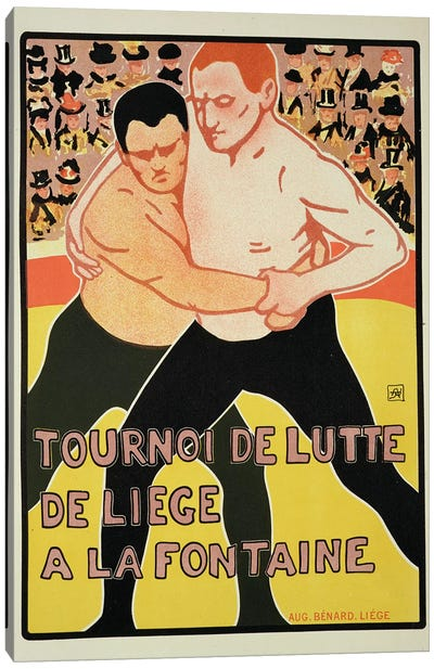 Reproduction of a poster advertising a wrestling tournament, at The Fountain, Liege, Belgium, 1899  Canvas Art Print