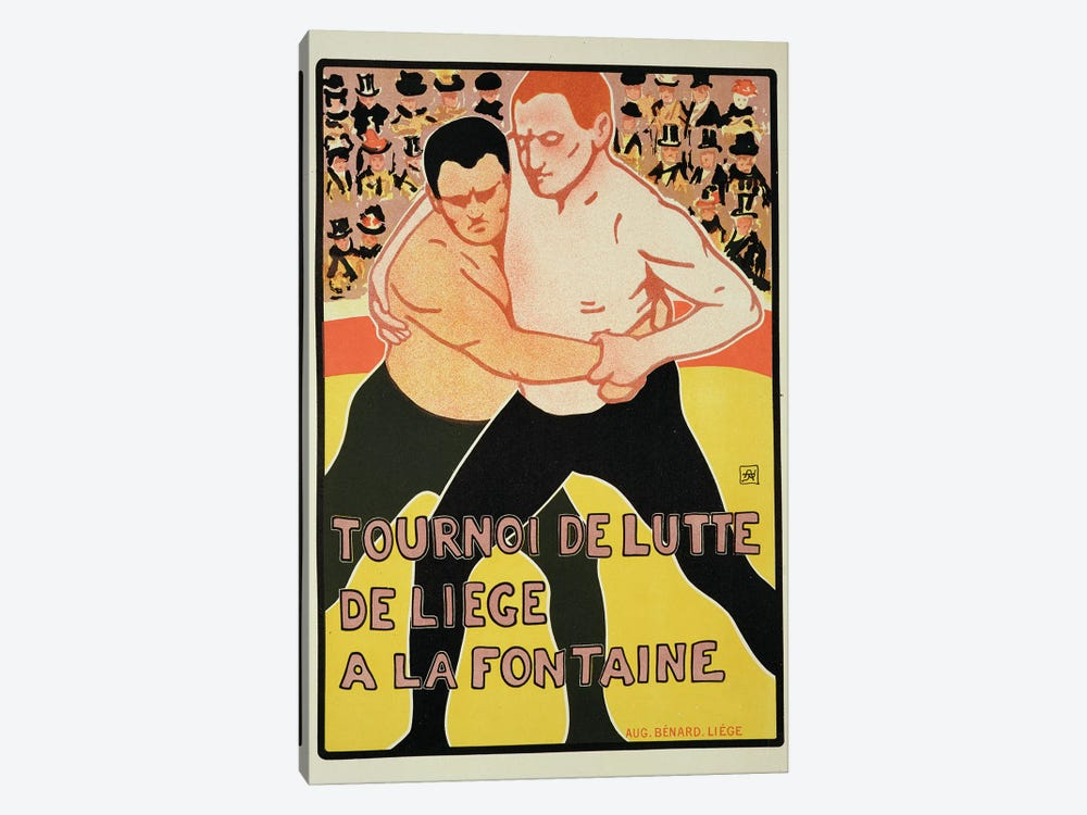 Reproduction of a poster advertising a wrestling tournament, at The Fountain, Liege, Belgium, 1899  by Armand Rossenfosse 1-piece Art Print