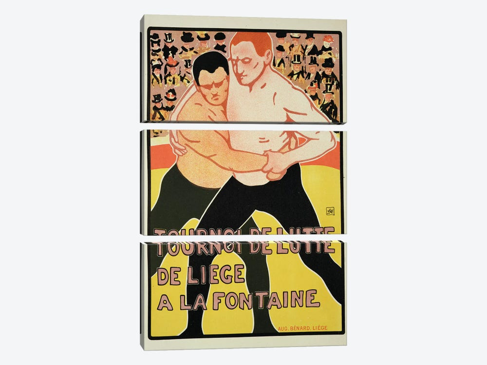 Reproduction of a poster advertising a wrestling tournament, at The Fountain, Liege, Belgium, 1899  by Armand Rossenfosse 3-piece Canvas Print