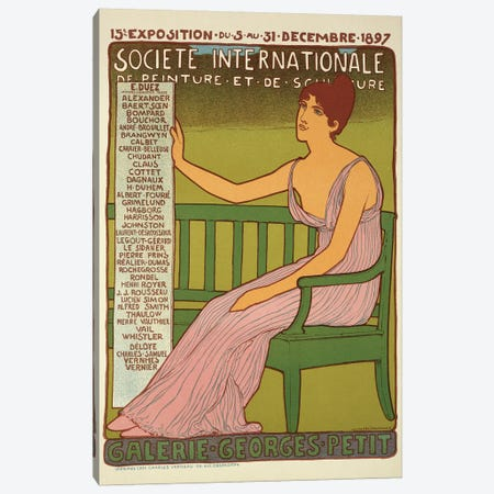 Reproduction of a poster advertising the 'Georges Petit Gallery', Paris, 1897  Canvas Print #BMN1784} by Maurice Realier-Dumas Canvas Wall Art