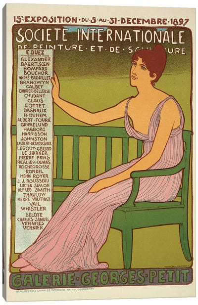 Reproduction of a poster advertising the 'Georges Petit Gallery', Paris, 1897  Canvas Art Print