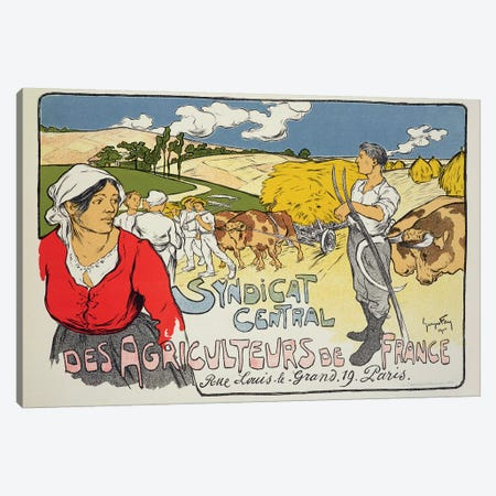 Reproduction of a poster advertising the 'Central Syndicate of French Farmers', 1900  Canvas Print #BMN1785} by Georges Fay Canvas Wall Art