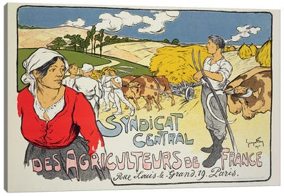 Reproduction of a poster advertising the 'Central Syndicate of French Farmers', 1900  Canvas Art Print