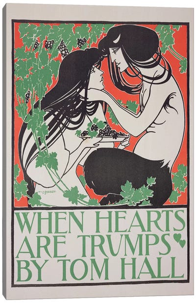 Reproduction of a poster advertising 'When Hearts are Trumps' by Tom Hall  Canvas Art Print