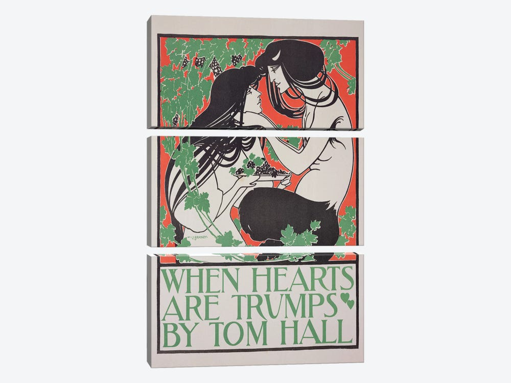 Reproduction of a poster advertising 'When Hearts are Trumps' by Tom Hall  by William Bradley 3-piece Canvas Wall Art