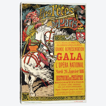 Reproduction of a poster advertising the 'Fetes de Paris', at the Opera National, Paris, 1885  3-Piece Canvas #BMN1789} by Eugene Grasset Canvas Art Print