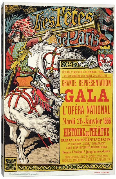 Reproduction of a poster advertising the 'Fetes de Paris', at the Opera National, Paris, 1885  Canvas Art Print