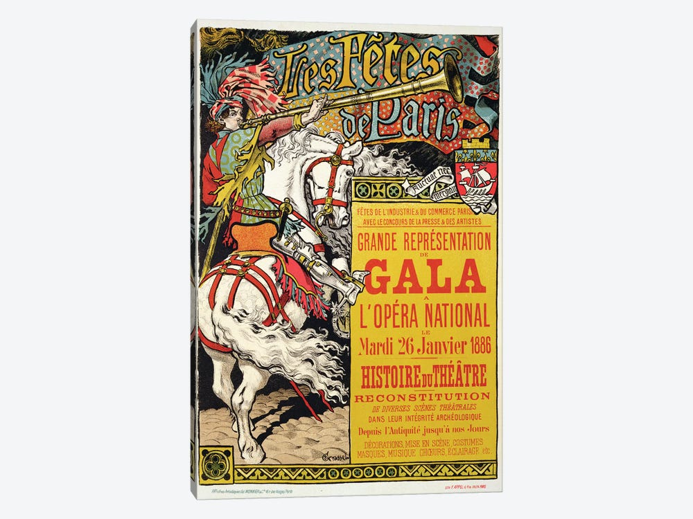 Reproduction of a poster advertising the 'Fetes de Paris', at the Opera National, Paris, 1885  by Eugene Grasset 1-piece Canvas Art Print