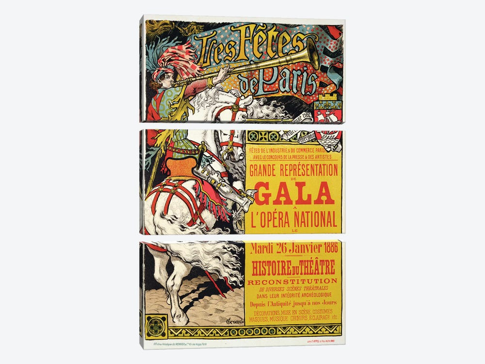 Reproduction of a poster advertising the 'Fetes de Paris', at the Opera National, Paris, 1885  by Eugene Grasset 3-piece Canvas Print