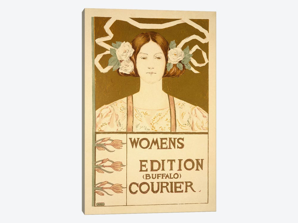 Reproduction of a poster advertising the 'Women's edition Buffalo Courier'  by American School 1-piece Canvas Print