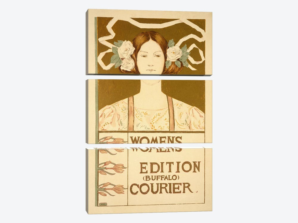 Reproduction of a poster advertising the 'Women's edition Buffalo Courier'  by American School 3-piece Art Print