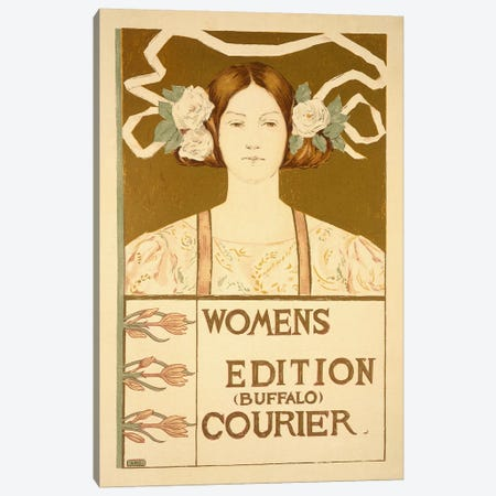 Reproduction of a poster advertising the 'Women's edition Buffalo Courier'  3-Piece Canvas #BMN1790} by American School Canvas Art