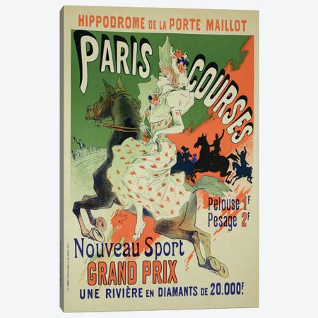 Paris Courses At Hippodrome de la Porte Maillot Advertisement, 1890  Canvas Print #BMN1791} by Jules Cheret Canvas Art