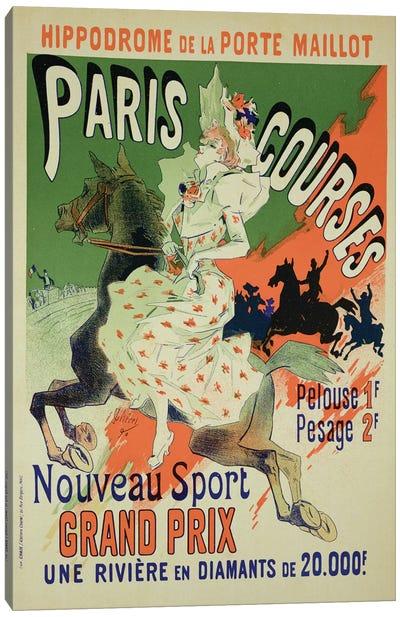 Paris Courses At Hippodrome de la Porte Maillot Advertisement, 1890  Canvas Art Print