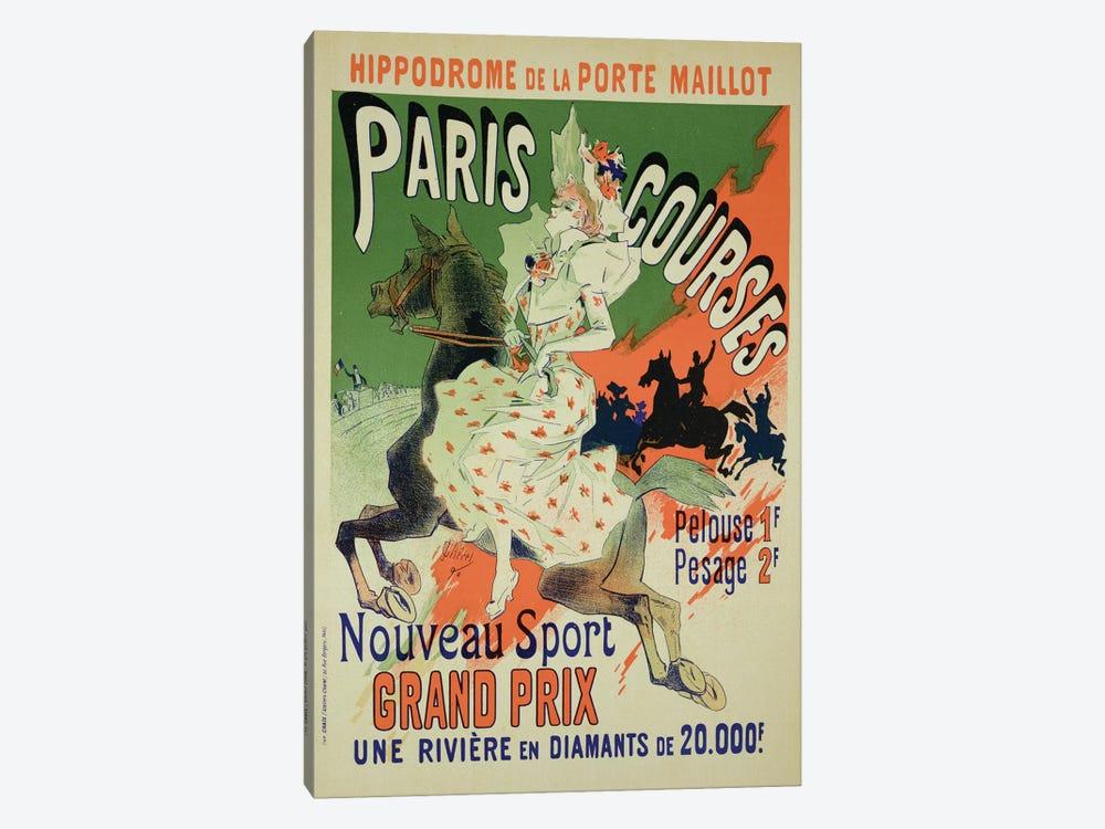 Paris Courses At Hippodrome de la Porte Maillot Advertisement, 1890  by Jules Cheret 1-piece Canvas Wall Art