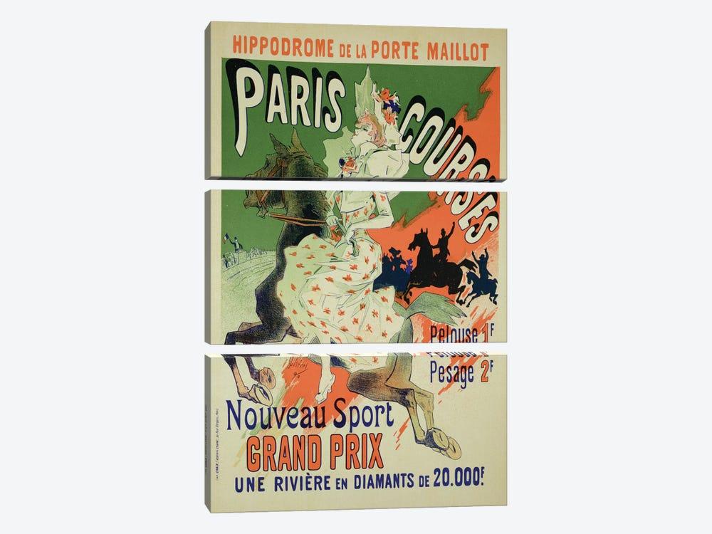 Paris Courses At Hippodrome de la Porte Maillot Advertisement, 1890  by Jules Cheret 3-piece Canvas Artwork
