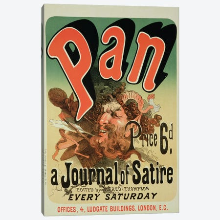 Pan (A Journal Of Satire) By Alfred Thompson Advertisement Canvas Print #BMN1792} by Jules Cheret Canvas Wall Art