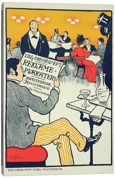 Reproduction of a poster advertising 'Wilhelm Soborg', Copenhagen  Canvas Art Print
