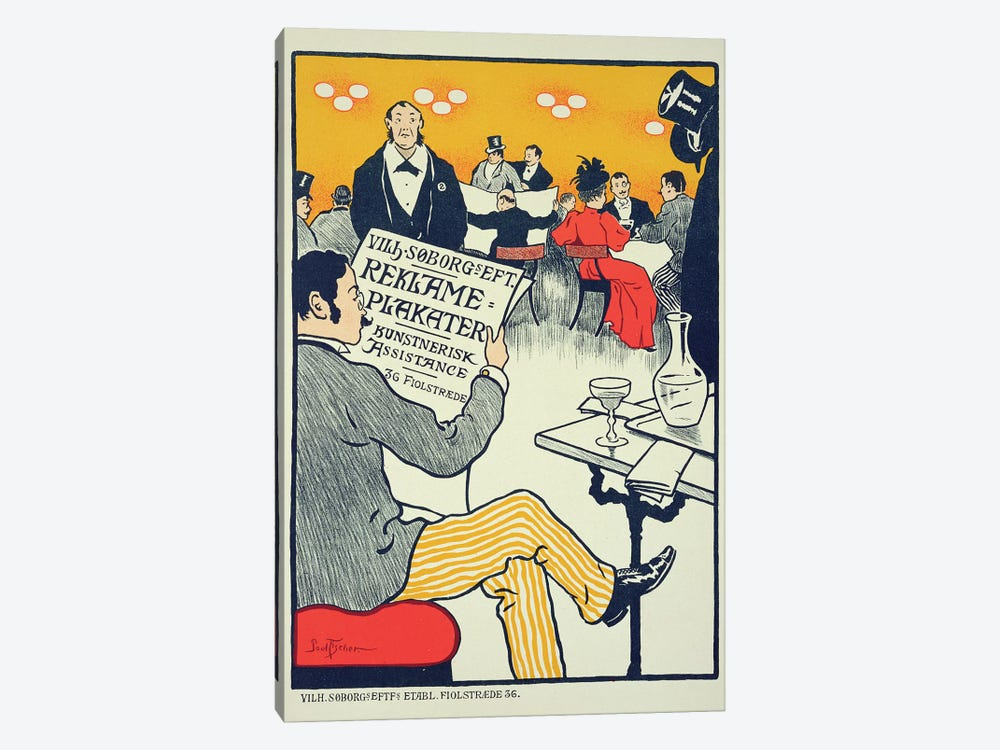 Reproduction of a poster advertising 'Wilhelm Soborg', Copenhagen  by Paul Fischer 1-piece Canvas Art