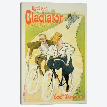 Reproduction of a poster advertising 'Gladiator Cycles', Boulevard Montmartre, Paris, 1895  Canvas Print #BMN1794} by Ferdinand Misti-Mifliez Canvas Print