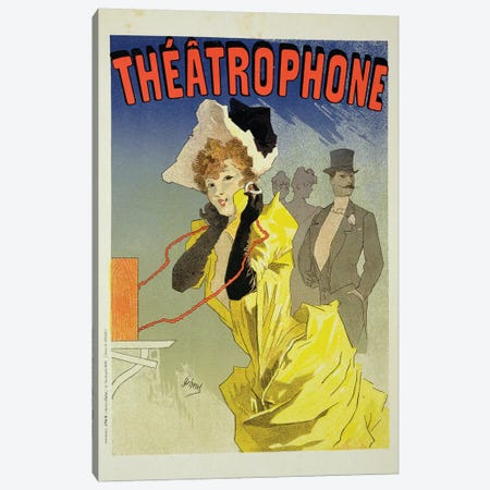 Theatrophone Advertisement, 1890  Canvas Print #BMN1795} by Jules Cheret Canvas Print