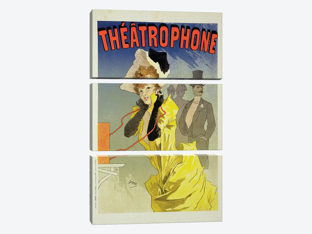 Theatrophone Advertisement, 1890  by Jules Cheret 3-piece Canvas Art